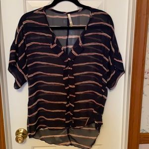 Francesca's Navy Blouse with red and white stripes